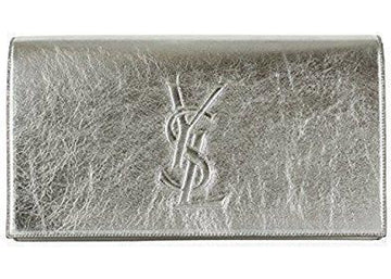 Saint Laurent Belle De Jour Clutch Metallic Silver