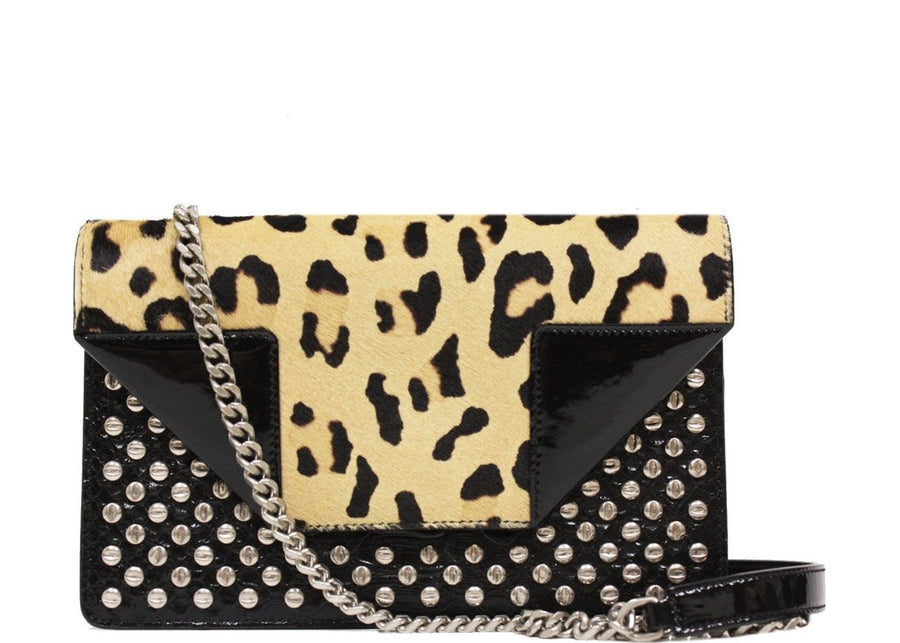 Saint Laurent Betty Chain Crossbody Leopard Small Black Multicolor
