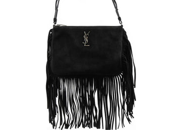Saint Laurent Bo Monogram Crossbody Bag Fringe Black