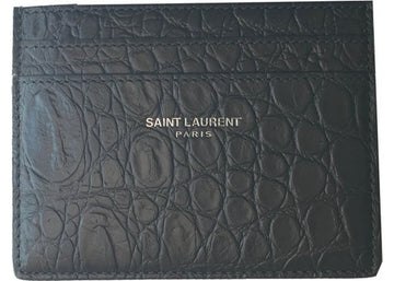 Saint Laurent Card Holder Crocodile Print Coal