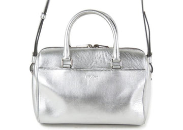 Saint Laurent Classic Sac Shoulder Bag Duffle Mini Metallic Silver