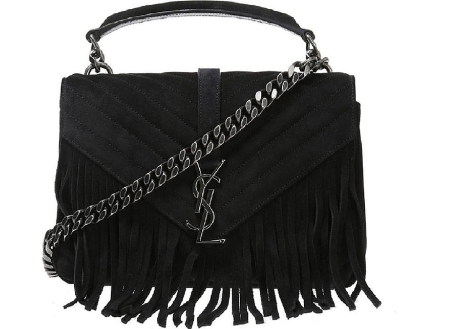 Saint Laurent College Monogram Handbag Fringe Medium Black