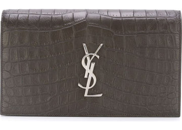 Saint Laurent Crocodile Clutch Gray