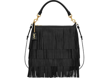 Saint Laurent Emmanuelle Hobo Bag Fringe Small Black