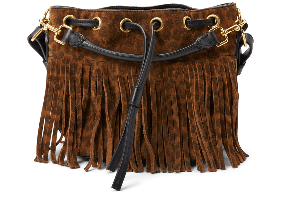 Saint Laurent Emmanuelle Sac Bucket Bag Leopard Fringe Brown