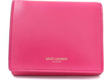 Saint Laurent French Flap Wallet Leather Pink