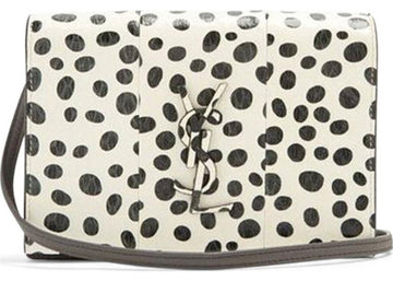 Saint Laurent Kate Polka Dot Monogram White Black