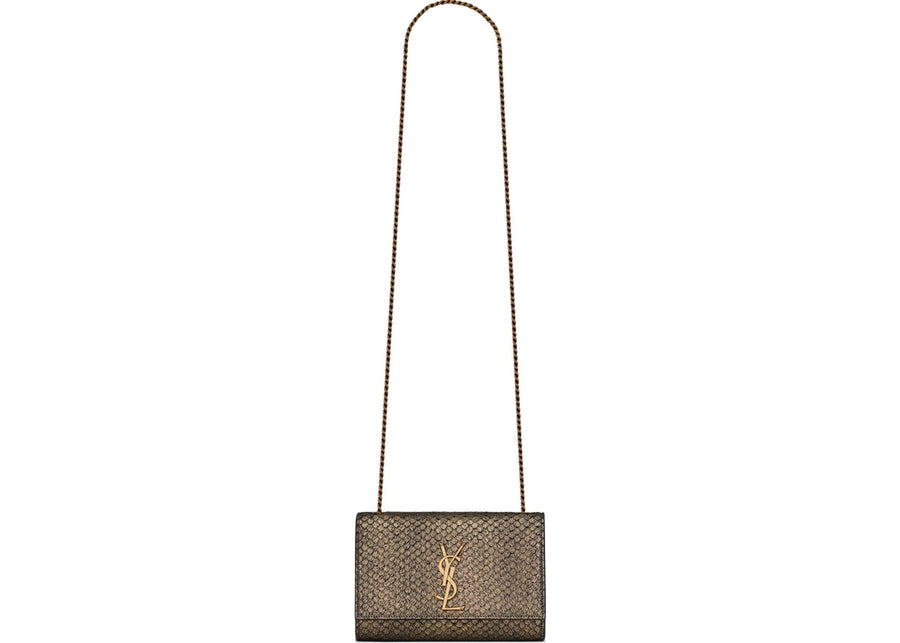 Saint Laurent Kate Shoulder Bag Metallic Python Gold-tone Small Gold