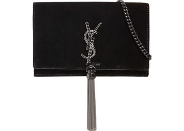 Saint Laurent Kate Velvet Wallet on Chain Tassel & Crystals Black