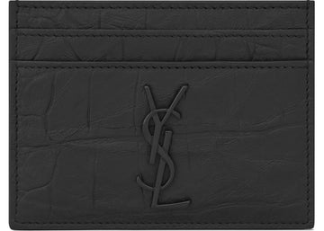 Saint Laurent Monogram Card Case Crocodile Embossed Leather Black