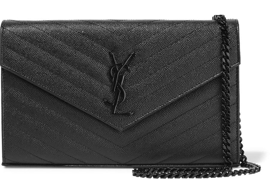 Saint Laurent Monogram Chain Wallet Black