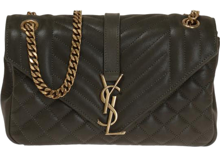 Saint Laurent Monogram College Shoulder Matelasse Dark Green