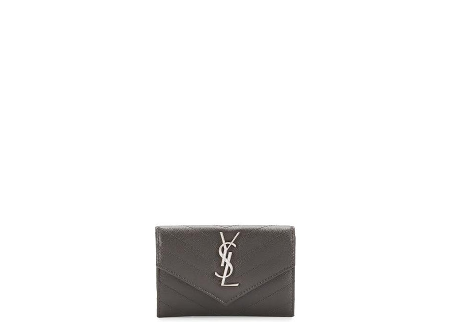 Saint Laurent Monogram Envelope Wallet Matelasse Chevron Grain de Poudre Small Dark Antracite