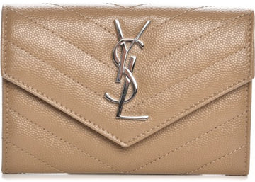 Saint Laurent Monogram Envelope Wallet Matelasse Chevron Grain de Poudre Small Dark Beige
