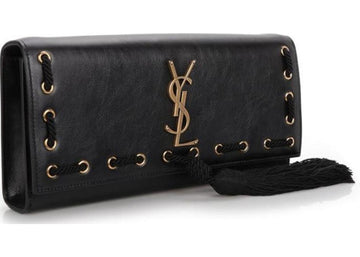 Saint Laurent Puccino Volana Clutch Black