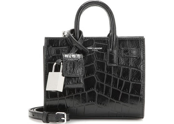 Saint Laurent Sac De Jour Embossed Crocodile (Removable Crossbody Strap) Toy Black