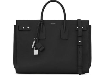 Saint Laurent Sac De Jour Tote Grained Leather Silver-tone Large Black