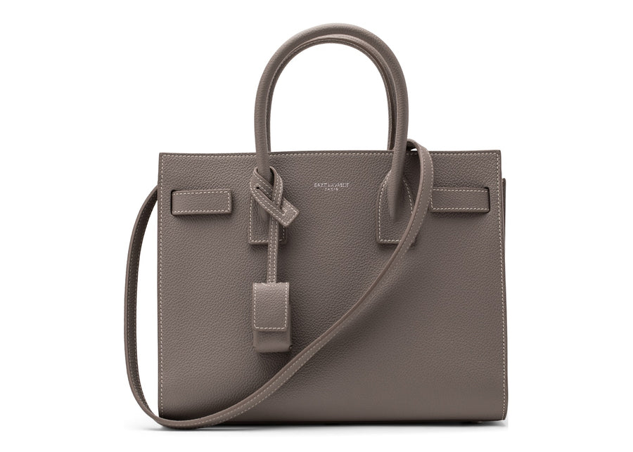 Saint Laurent Sac de Jour Shoulder Pebbled Topstitch Baby Grey