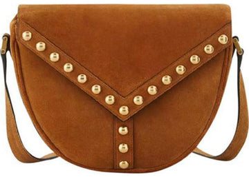 Saint Laurent Y Studs Satchel Dark Brown