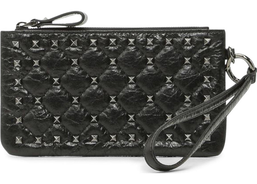 Valentino Spike Pouch Crackled Small Black