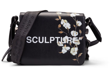 OFF-WHITE Binder Clip Bag Cotton Flower Sculpture Black