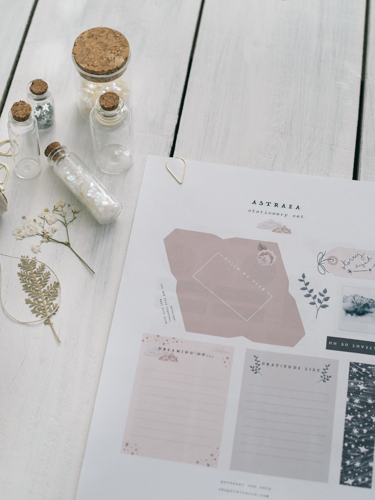 astraea printable stationery set