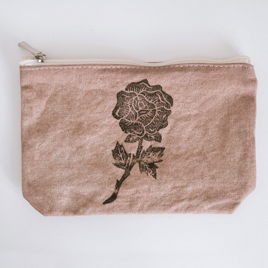 rose-printed pencil pouch