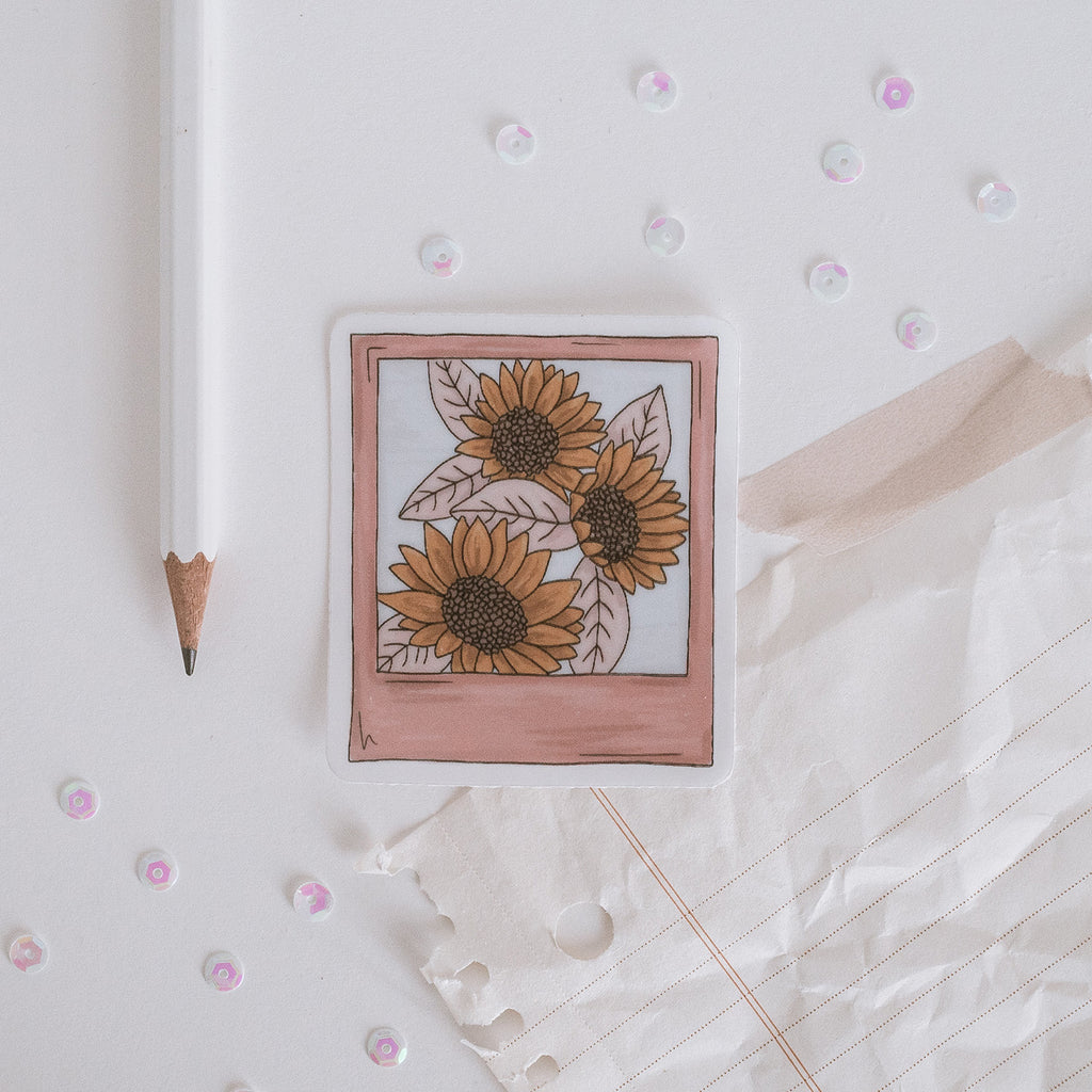 sunflower polaroid vinyl sticker