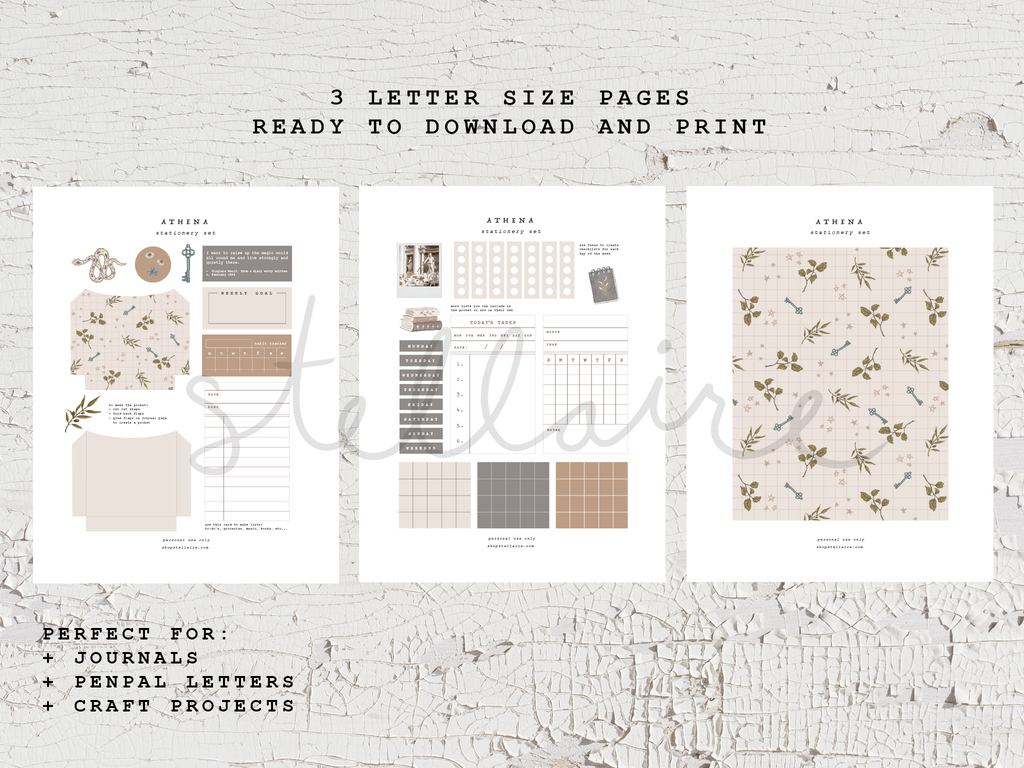 athena printable stationery set