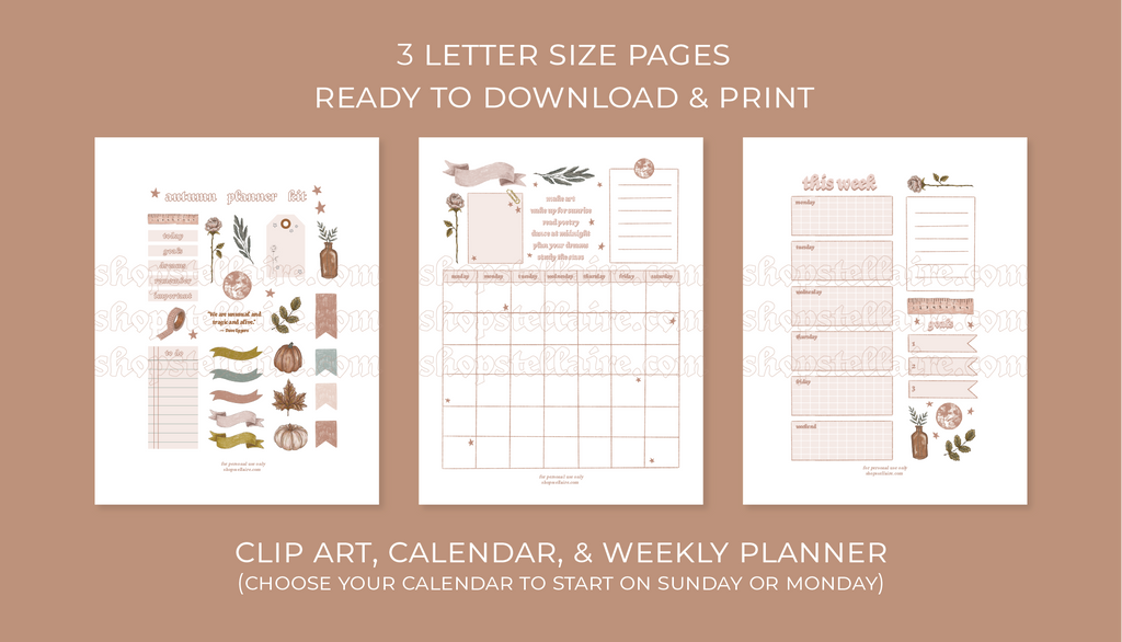 autumn planner & sticker printable