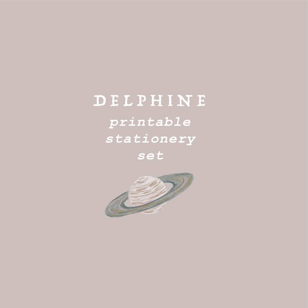 delphine printable stationery set