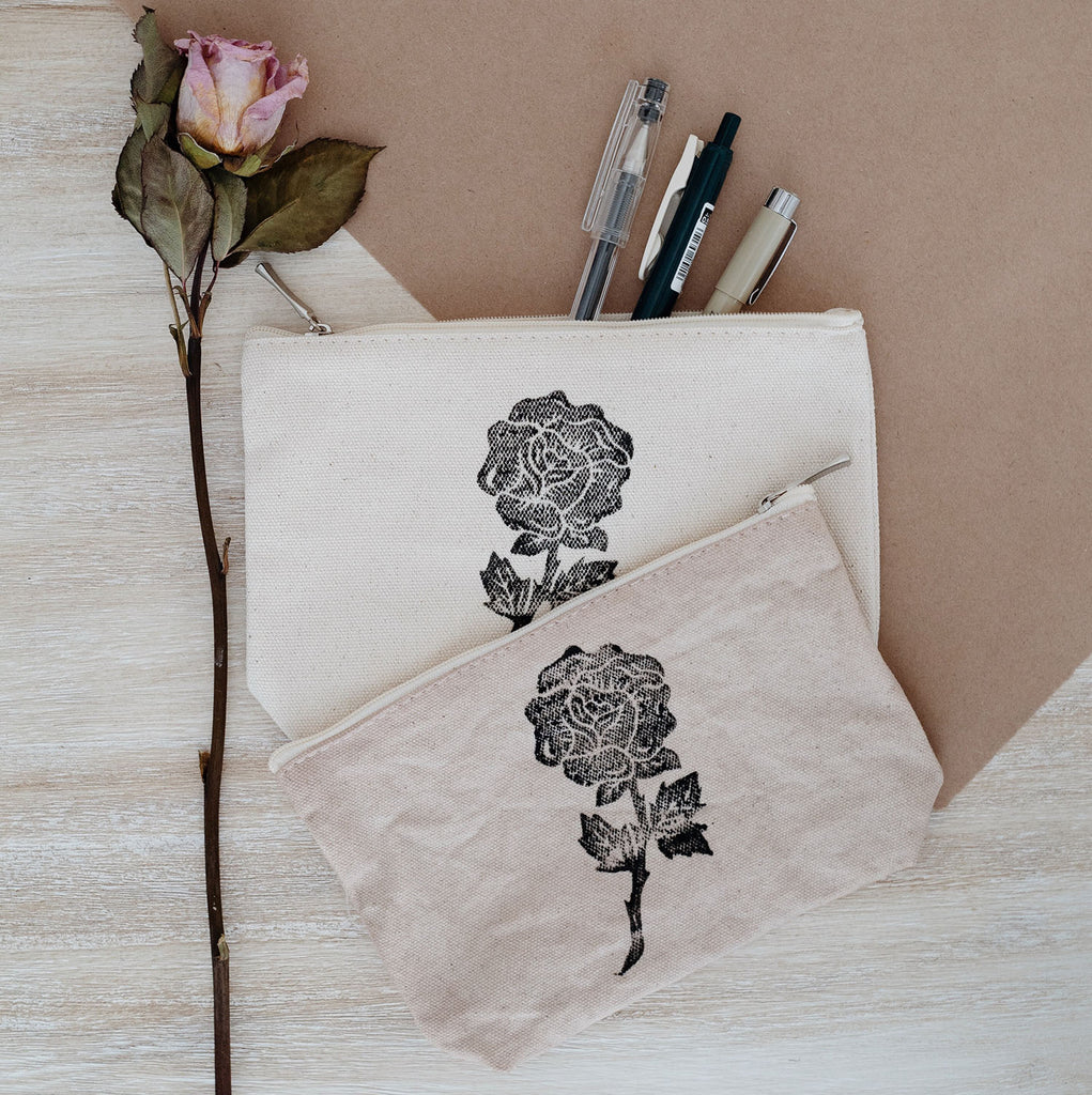 rose-printed canvas pouch
