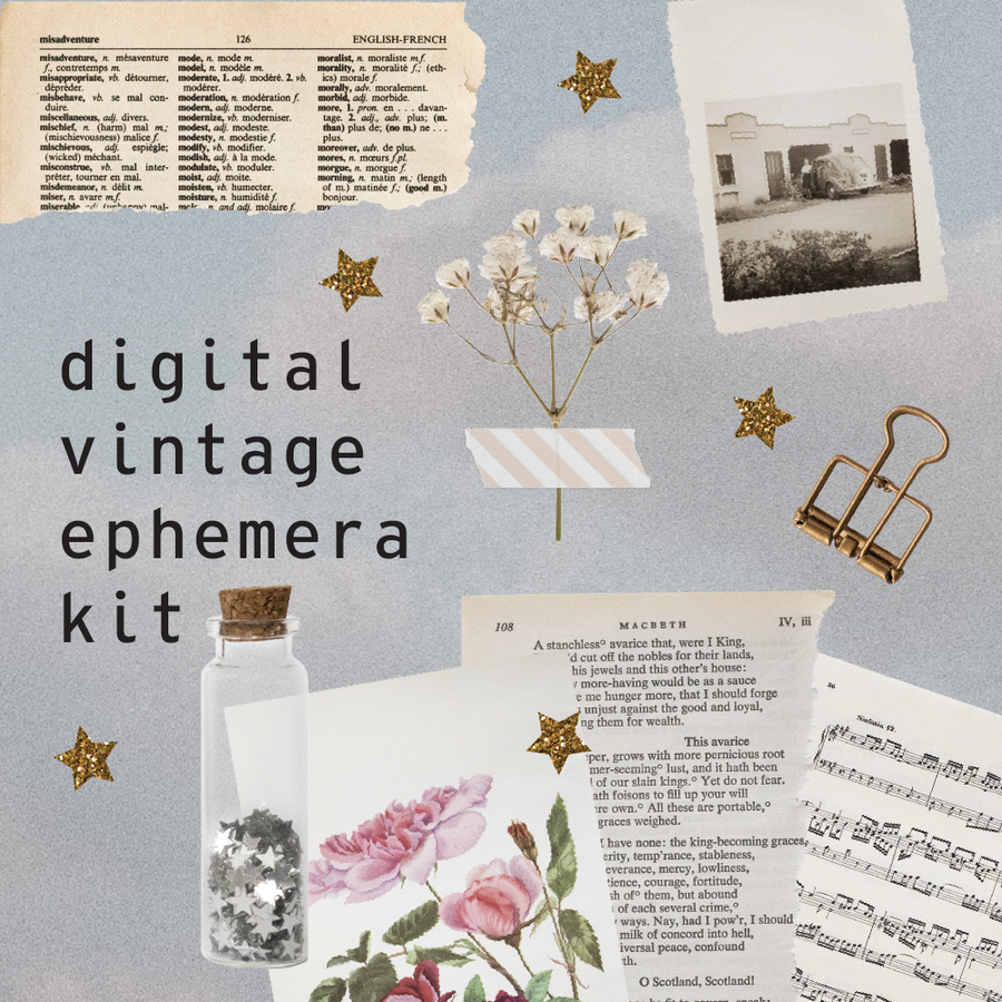 digital vintage ephemera kit