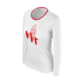 MMF Women White/Red Long Sleeve Shirts