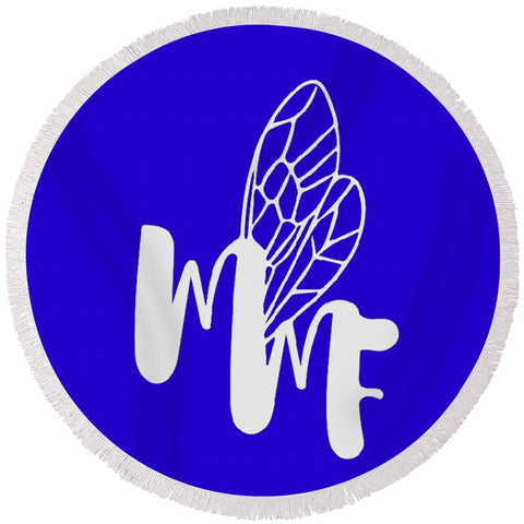 Match My Fly  -Blue/White Round Beach Towel