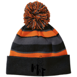 Match My Fly Striped Beanie with Pom