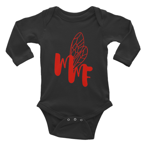 MMF Black/Red Infant Long Sleeve Bodysuit Onsies