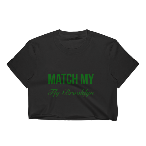 Match My Fly Black/Green Women's Crop Top