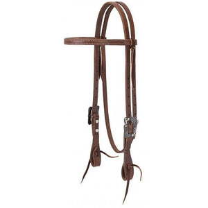 "WEAVER PRO TACK 5/8"" STRAIGHT BROWBAND HEADSTALL, OILED RUSSET"