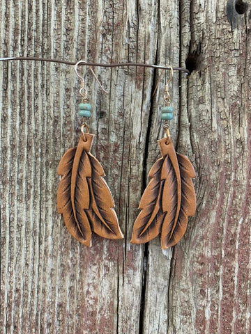 J.Forks Designs Double Feather & Turquoise Earring, Chestnut
