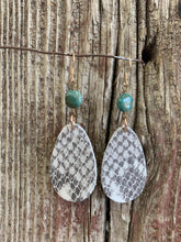 Load image into Gallery viewer, J.Forks Designs Snake Print Leather Teardrop & Turquoise Earrings