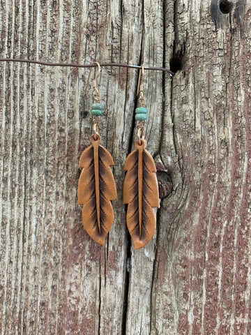 J.Forks Designs Leather Feather w/ Stone Earrings, Asst. Stone Colors
