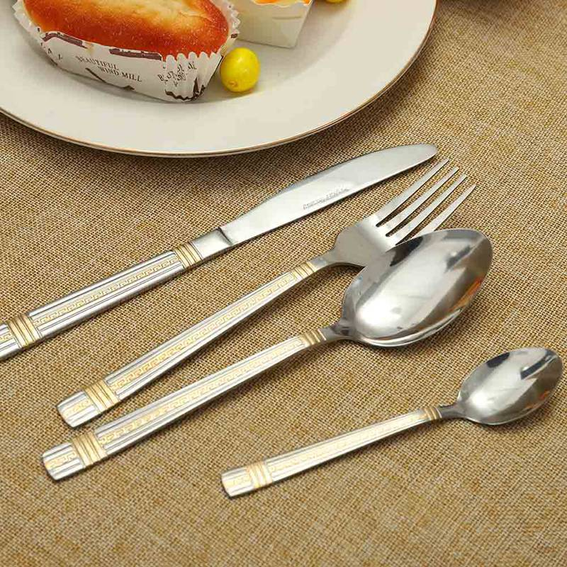 1pcs Gold Plated Cutlery Set Dinner Knives Fork Stainless Steel Novelty Flatware Dinnerware Tableware Dinner Set Freeshipping