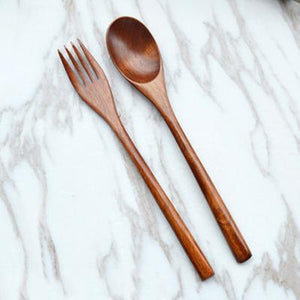 2 Pcs Wooden Fork Scoop Cutlery Set Tableware Wood Long Handle Dinnerware