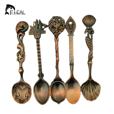 Image of 5pcs Set Vintage Royal Style Bronze Small Coffee & Bar Tableware