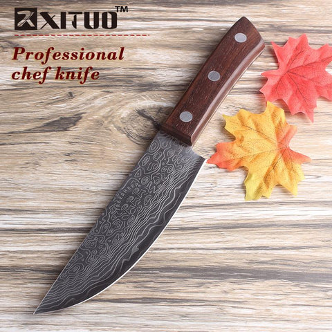 "6"" Inch Damascus Chef Knife W/ Wood Handle Stainless Steel Santoku Cleaver"