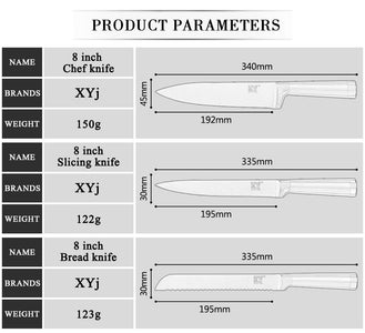 6 Top Grade Professional Chef Grade - Stainless Steel Kitchen Knives