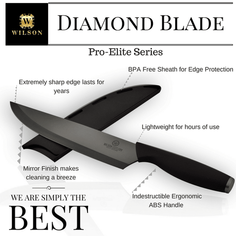 "Image of 8"" Diamond Pro-Elite Blade Chef's Knife W/ Sheath & Wilson Elite Gift Box"