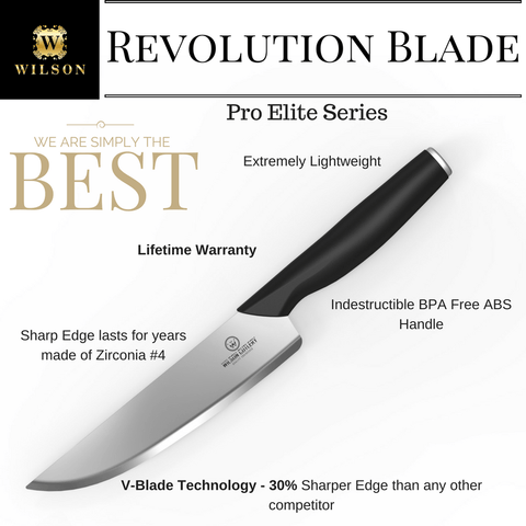 "8"" Revolution Pro-Elite Blade Chef's Knife W/ Sheath & Wilson Elite Gift Box"
