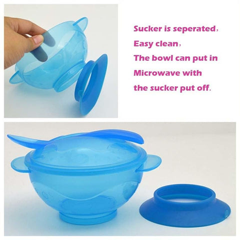 Image of Baby Dinnerware Sets - Non-Slip Suction Cup Bowls + Spoons Set - Microwave Safe